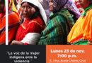 """Próximo lunes se desarrollará la conferencia """"Violencia ejercida en la mujer indígena"""""""