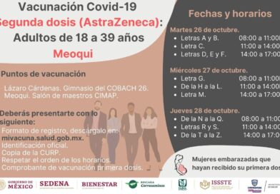 Aplicarán en Meoqui del 26 al 28 de octubre la segunda dosis de vacuna AztraZeneca para personas de 18 a 39 años